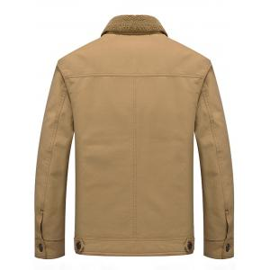 Chest Flap Pocket Faux Shearling Jacket -