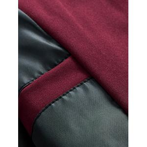 Suture Panel Stand Collar Zip Up Jacket - Rouge XL