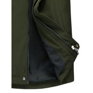 Zip Pocket Hooded Graphic Braid Jacket - ARMY GREEN XL