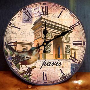 Triumphal Arch Analog Round Wood Wall Clock - ANTIQUE BROWN