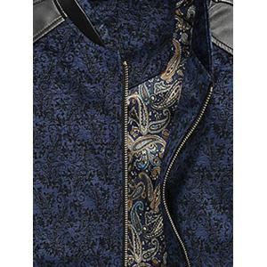 PU Leather Panel Floral Velvet Zip Up Jacket - BLUE L