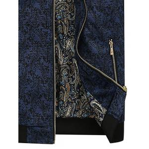 PU Leather Panel Floral Velvet Zip Up Jacket - BLUE 2XL