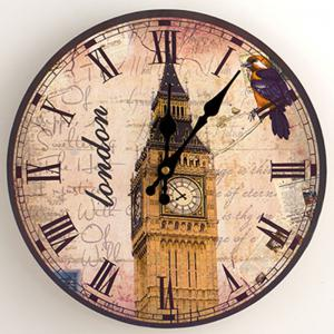 Big Ben Analog Wood Round Wall Clock