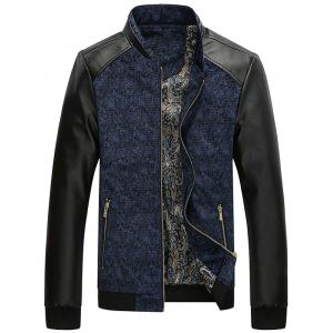 PU Leather Panel Floral Velvet Zip Up Jacket