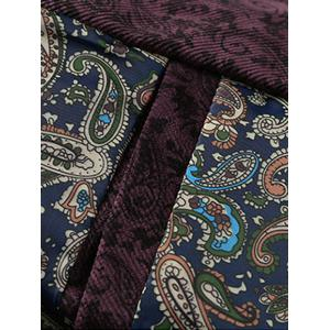 PU Leather Panel Floral Velvet Zip Up Jacket - WINE RED 3XL