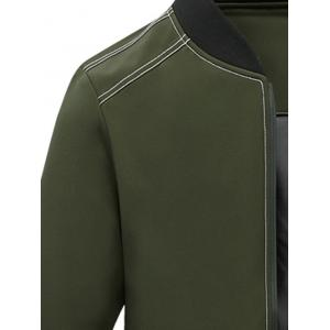 Zip Pocket Stand Collar Applique Jacket - ARMY GREEN 5XL