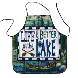 Cartoon Lake Proverbs Print Waterproof Kitchen Apron