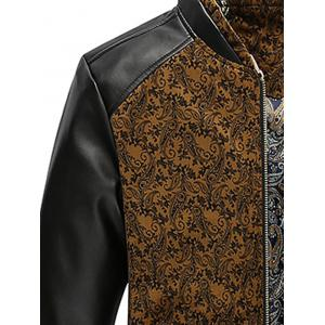 PU Leather Panel Floral Velvet Zip Up Jacket - KHAKI 2XL