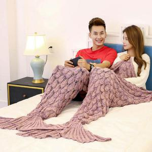 Crochet Fish Scale Pattern Mermaid Blanket For Lovers - Pink - 180*155cm