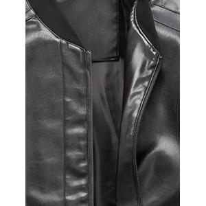Zip Up Rib Panel Faux Leather Jacket - BLACK 2XL