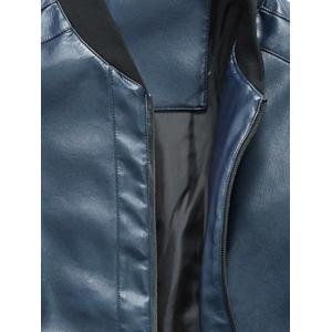 Zip Up Rib Panel Faux Leather Jacket - BLUE XL
