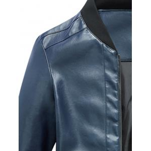 Zip Up Rib Panel Faux Leather Jacket - BLUE L