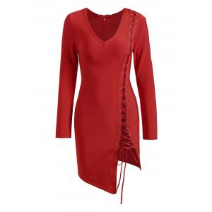 Long Sleeve Lace-up Asymmetric Bandage Dress