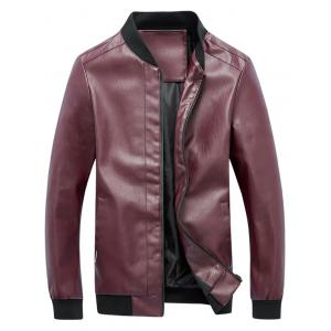 Zip Up Rib Panel Faux Leather Jacket