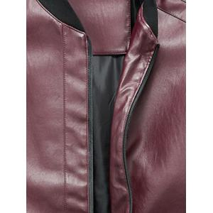 Zip Up Rib Panel Faux Leather Jacket - Rouge XL