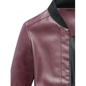 Zip Up Rib Panel Faux Leather Jacket - Rouge L