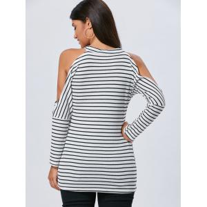 Long Sleeve Striped Cold Shoulder Tunic Top - STRIPE L