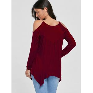 Open Shoulder Handkerchief Top - WINE RED M