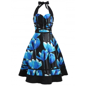 Flower Ink Print Halter 50s Swing Dress