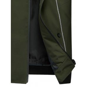 Suture Panel Stand Collar Zip Up Jacket - ARMY GREEN 3XL