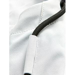 Zip Pocket Hooded Graphic Braid Jacket - GRAY L