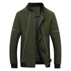 Suture Panel Stand Collar Zip Up Jacket - Army Green - L