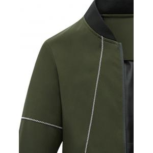 Suture Panel Stand Collar Zip Up Jacket - ARMY GREEN L