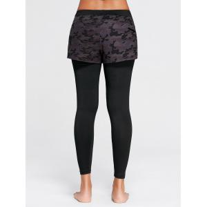 Camo Printed Sports Two Layered  Leggings - BLACK S