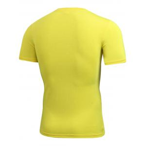Short Sleeve Stretchy Fitted Gym T-shirt - YELLOW S