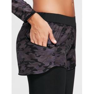 Camo Printed Sports Two Layered Leggings - Noir L