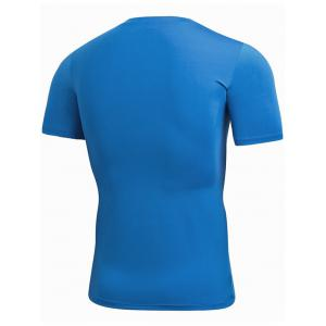 Short Sleeve Stretchy Fitted Gym T-shirt - BLUE M