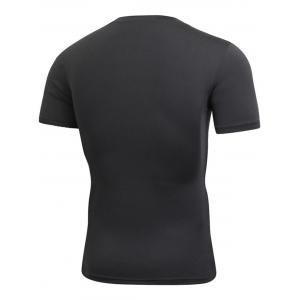 Short Sleeve Stretchy Fitted Gym T-shirt - BLACK S