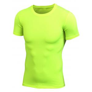 Short Sleeve Stretchy Fitted Gym T-shirt - Neon Green - S