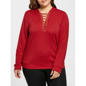 Plus Size Lace Up Pullover Hoodie - Red - 4xl