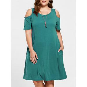 Tunic Cold Shoulder Plus Size Dress - Green - 3xl