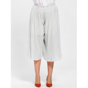 Pleated Wide Leg Plus Size Pants - WHITE 2XL