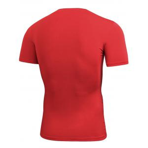 Short Sleeve Stretchy Fitted Gym T-shirt - RED M