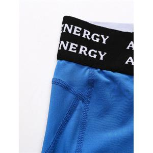 Quick Dry Openwork Panel Stretchy Gym Capri Pants - BLUE 2XL