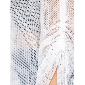 Bell Slit Sleeve Plus Size Sheer Crochet Knit Sweater - WHITE ONE SIZE