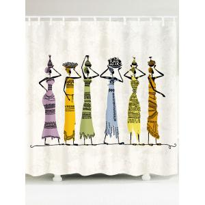 Waterproof African Girl Pattern Fabric Shower Curtain