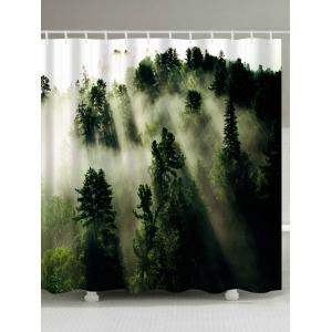 Forest Trees Fog Print Fabric Waterproof Bathroom Shower Curtain