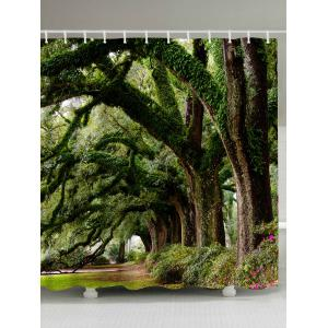 Forest Trees Avenue Print Fabric Waterproof Bathroom Shower Curtain