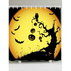 Pumpkin Withered Tree Print Waterproof Halloween Shower Curtain - Yellow And Black - W79 Inch * L71 Inch