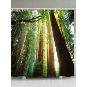 Sunshine Forest Print Fabric Waterproof Bathroom Shower Curtain