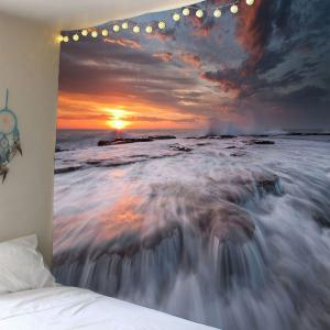 Waterproof Sunset Torrential Waterfall Home Decor Tapestry