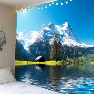Snow Mountains Lake Cottage Waterproof Hanging Tapestry