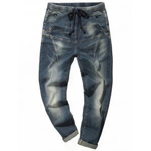 Faded Drawstring Tapered Jeans
