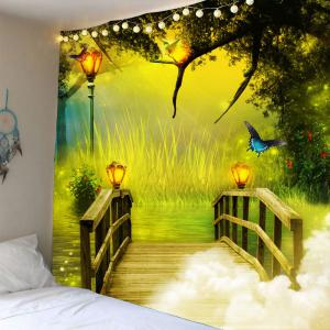 Waterproof Wonderland forest Wooden Bridge Wall Tapestry