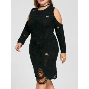 Open Shoulder Plus Size Distressed Sweater Dress - Black - 5xl