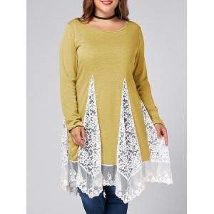Plus Size Lace Trim  Swing Long Sleeve T-shirts